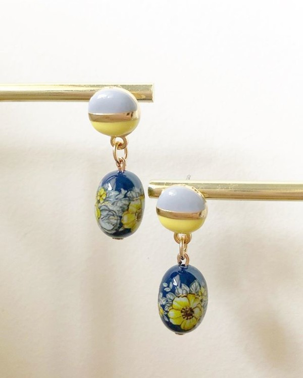 Blue and Yellow Floral Earrings - Diary of a Miniature Enthusiast
