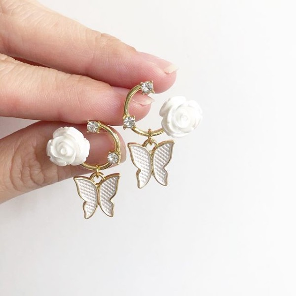 Garden Butterfly White Elegance Earrings - Diary of a Miniature Enthusiast