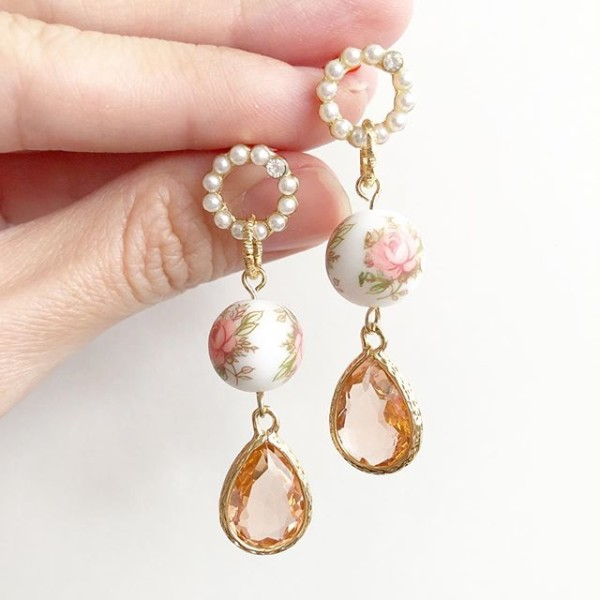 Pastel Pink Rose Faceted Teardrop Earrings - Diary of a Miniature Enthusiast