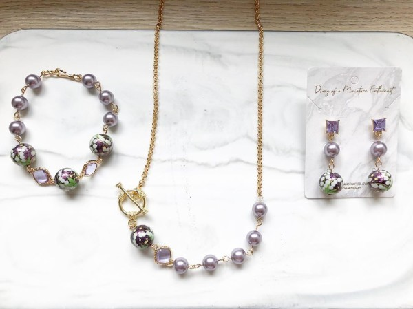 Purple Pearls Floral Earrings, Bracelet and Necklace - Diary of a Miniature Enthusiast