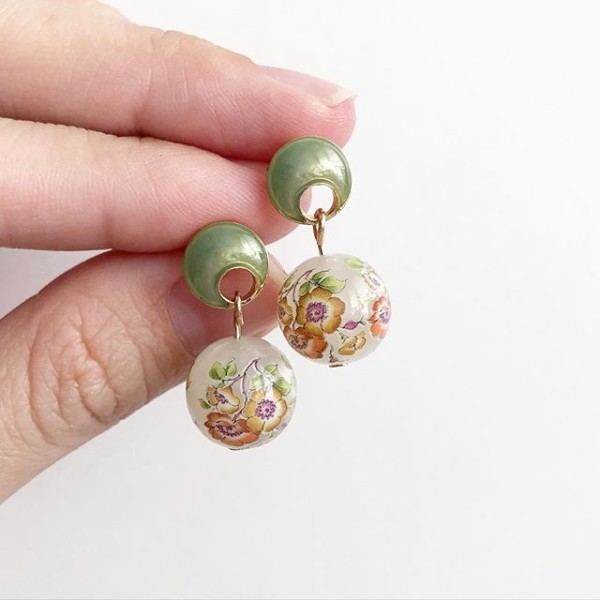 Opal Magnolia Tensha Earrings - Diary of a Miniature Enthusiast