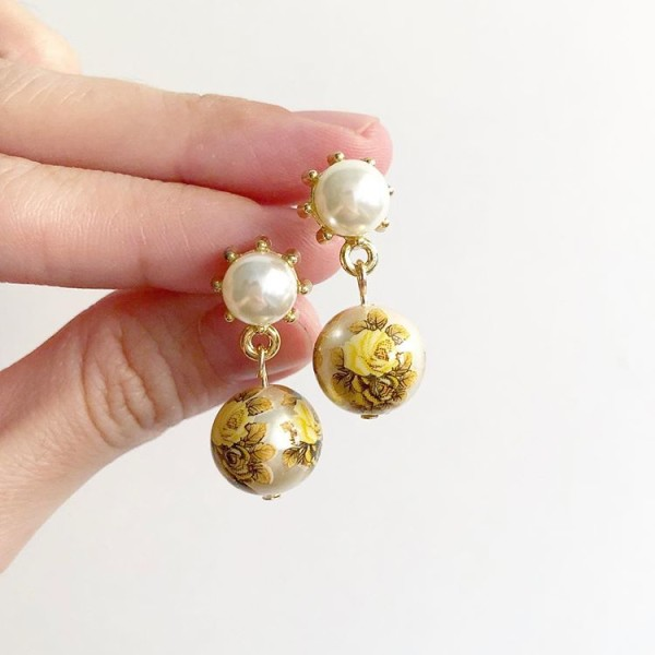 Double Yellow Vintage Rose Pearl Stud Earrings - Diary of a Miniature Enthusiast