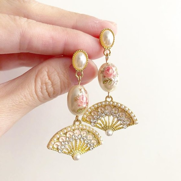 Pearl Pastel Pink Rose with Intricate Fan Earrings - Diary of a Miniature Enthusiast