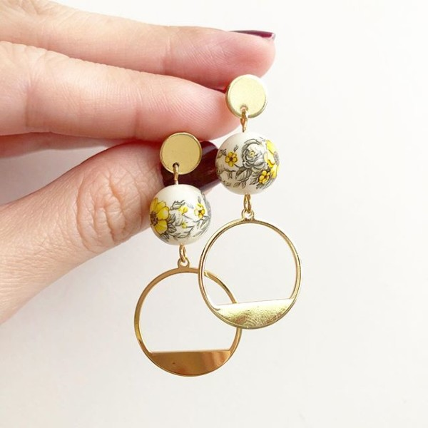 Yellow Marigold Gold Accents Earrings - Diary of a Miniature Enthusiast