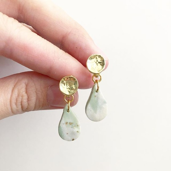 Sage & Serenity Marbleize Small Teardrop Earrings - Diary of a Miniature Enthusiast