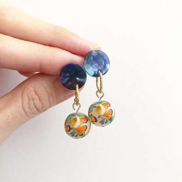 Clownfish Navy Earrings - Diary of a Miniature Enthusiast