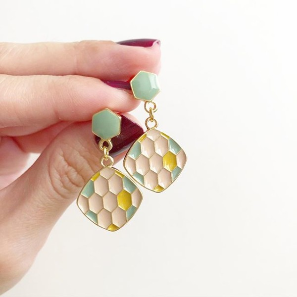 Vintage Hexagons Pastel Earrings - Diary of a Miniature Enthusiast