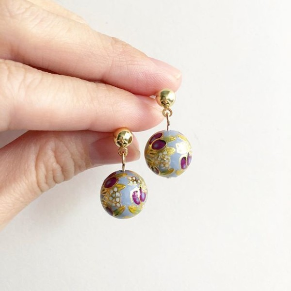 Purple Buds Baby Blue Earrings - Diary of a Miniature Enthusiast