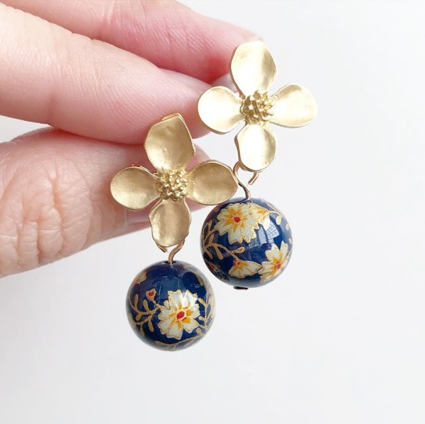 Navy Blue Daffodils Floral Earrings - Diary of a Miniature Enthusiast