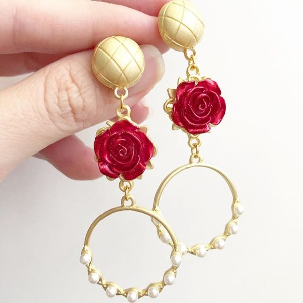 Christmas Romance Long Statement Earrings - Diary of a Miniature Enthusiast