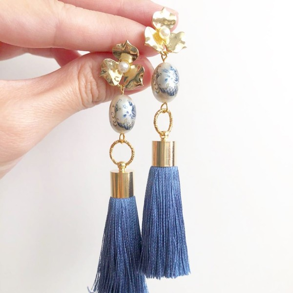 Pearl Toile Rose Premium Silk Tassels Earrings - Diary of a Miniature Enthusiast