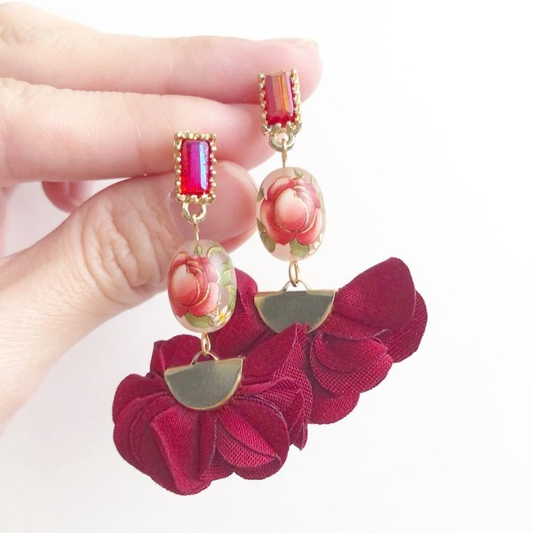 Frosted Red Rose Flare Earrings - Diary of a Miniature Enthusiast