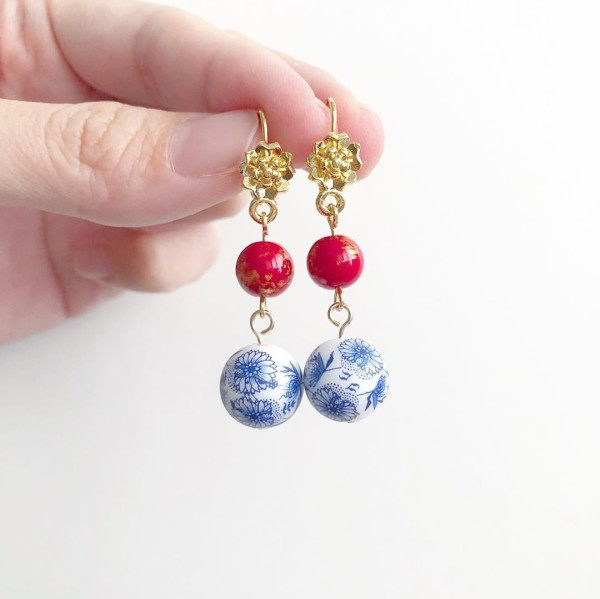 Chinoiserie Chic Floral Earrings - Diary of a Miniature Enthusiast