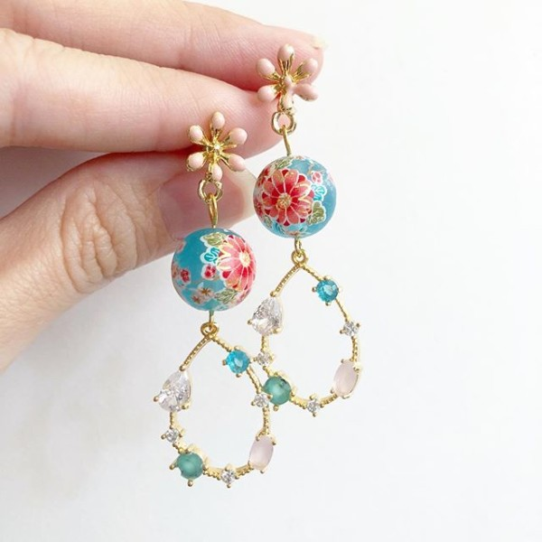 Frosted Blue Sakura Blossoms Rhinestone Dangle Earrings - Diary of a Miniature Enthusiast