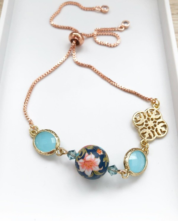 Navy Blue Lily Adjustable Bracelet - Diary of a Miniature Enthusiast