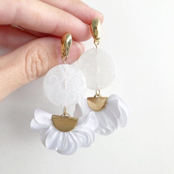 White Lace Flare Earrings - Diary of a Miniature Enthusiast