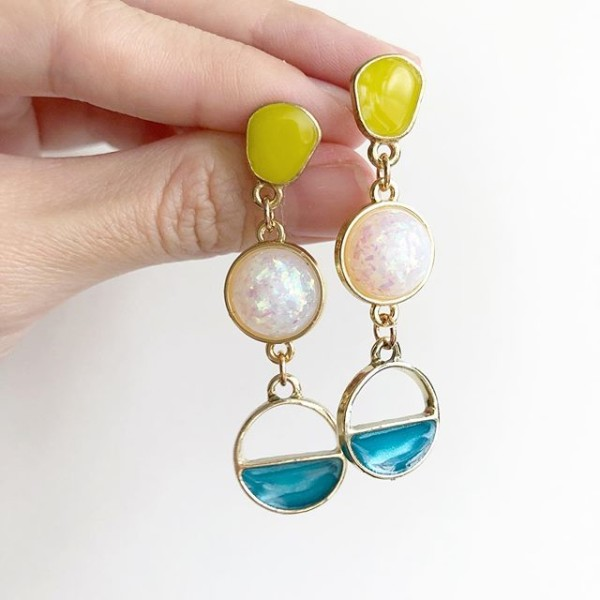 Green, Blue and Pink Earrings - Diary of a Miniature Enthusiast