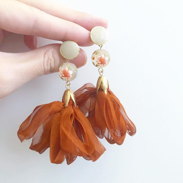 Frosted Lily Nude and Copper Ribbon Flare Earrings - Diary of a Miniature Enthusiast