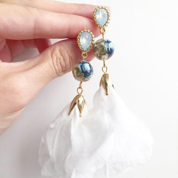 Pearl Blue Rose Long Flare Earrings - Diary of a Miniature Enthusiast