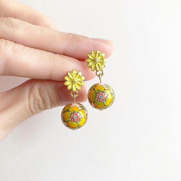 Yellow Primrose Floral Earrings - Diary of a Miniature Enthusiast