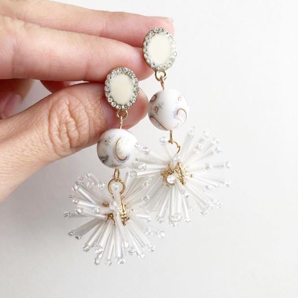 White Paisley Celebration Earrings - Diary of a Miniature Enthusiast