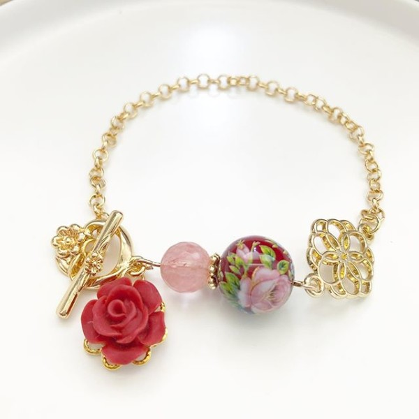 Wine Red Rose Japanese Tensha Floral Bracelet - Diary of a Miniature Enthusiast
