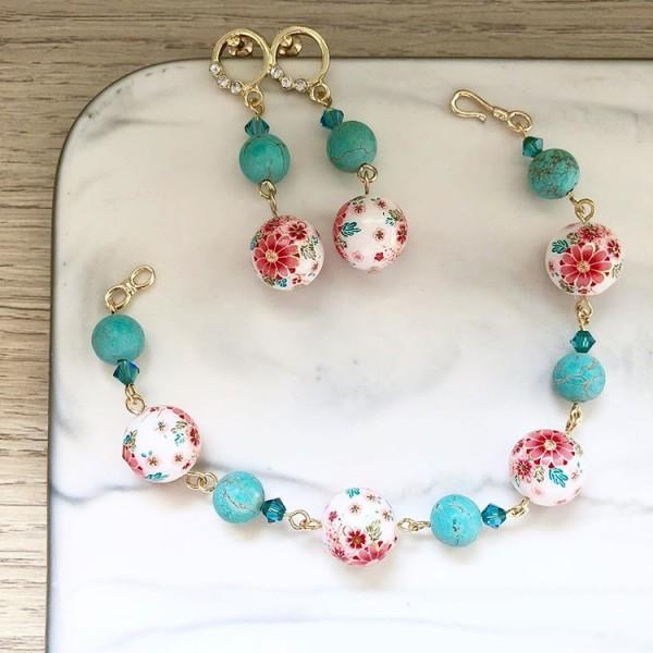 Tranquil Sakura Pink & Turquoise Bracelet and Tranquil Sakura Pin - Diary of a Miniature Enthusiast