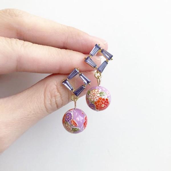 Purple Sakura Bouquet Earrings - Diary of a Miniature Enthusiast