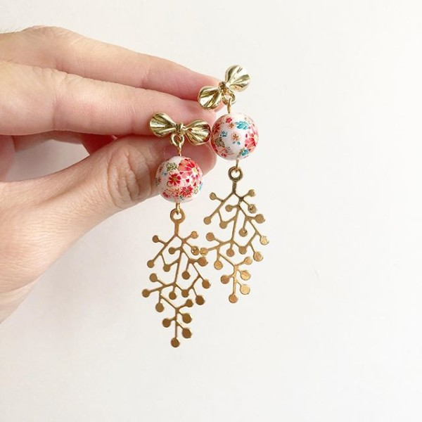 Gold Bow Floral Drop Earrings - Diary of a Miniature Enthusiast