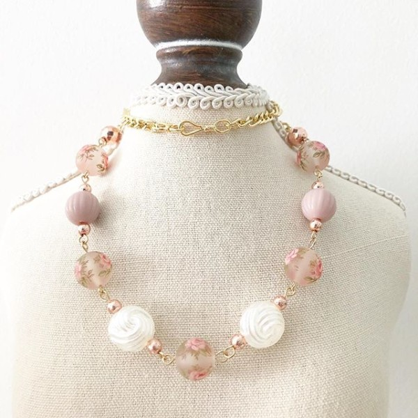 Frosted Pastel Pink Pink Short Necklace - Diary of a Miniature Enthusiast
