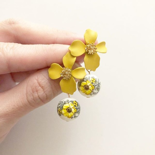 Mustard Yellow Marigold Floral Earrings - Diary of a Miniature Enthusiast