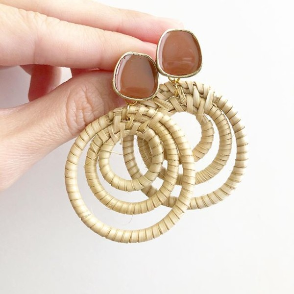 Light Rattan Triple Loop Earrings - Diary of a Miniature Enthusiast