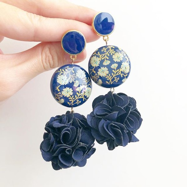 Navy Daffodils Statement Pompom Earrings - Diary of a Miniature Enthusiast
