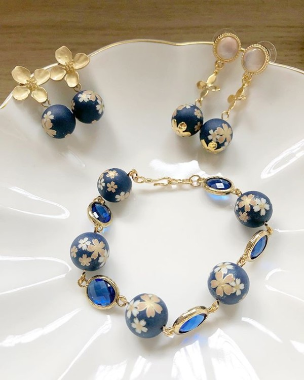 Navy Blue Sakura Floral Earrings and Bracelet - Diary of a Miniature Enthusiast