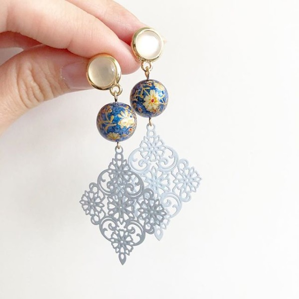 Metallic Blue Daffodils Lace Earrings  - Diary of a Miniature Enthusiast