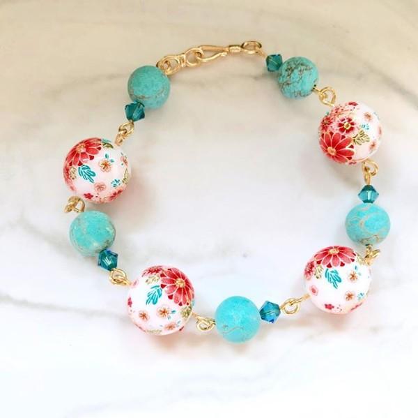 Tranquil Sakura Pink & Turquoise Bracelet - Diary of a Miniature Enthusiast