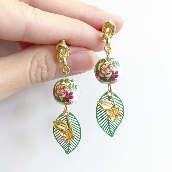 Vintage Rose Filigree Leaf Earrings - Diary of a Miniature Enthusiast