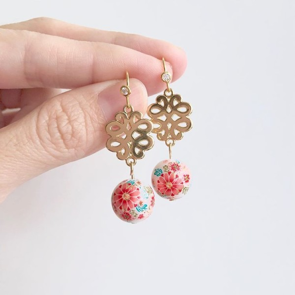 Tranquil Sakura Pink & Chinese Knot Earrings - Diary of a Miniature Enthusiast