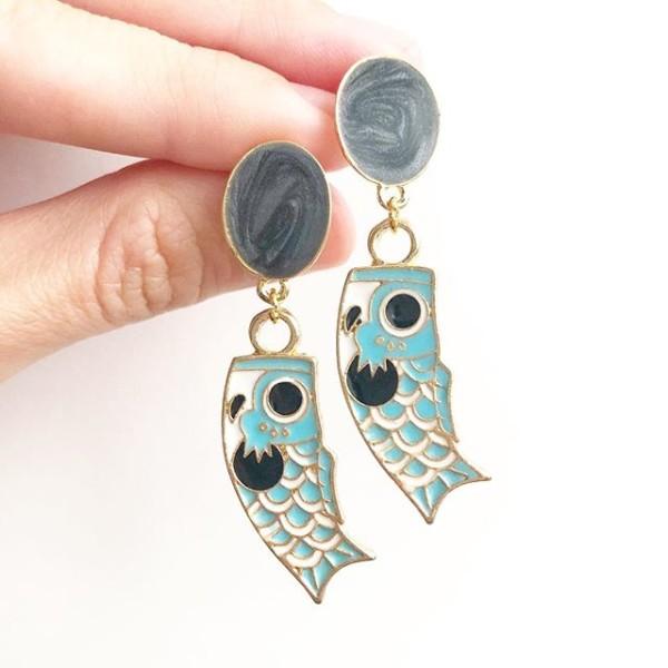 Sky Blue Koinobori Earrings - Diary of a Miniature Enthusiast
