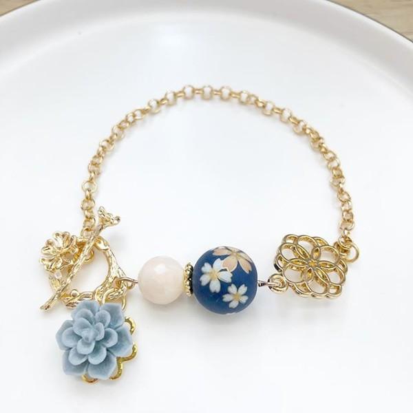 Navy Blue Sakura Japanese Tensha Floral Bracelet - Diary of a Miniature Enthusiast