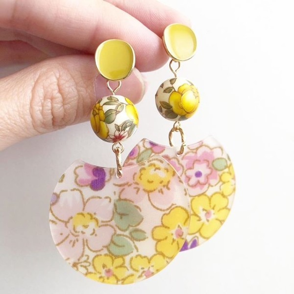 Yellow Rose Modern Floral Earrings - Diary of a Miniature Enthusiast