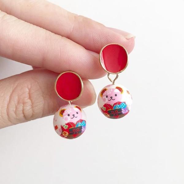 Red Kimono Bear Tensha Earrings - Diary of a Miniature Enthusiast