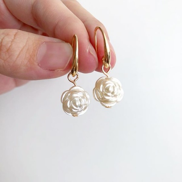 Gold Plated Hooks With Faux Pearls Earrings - Diary of a Miniature Enthusiast