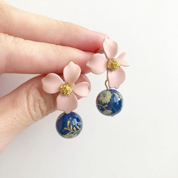 Navy Daffodils Blush Floral Earrings - Diary of a Miniature Enthusiast