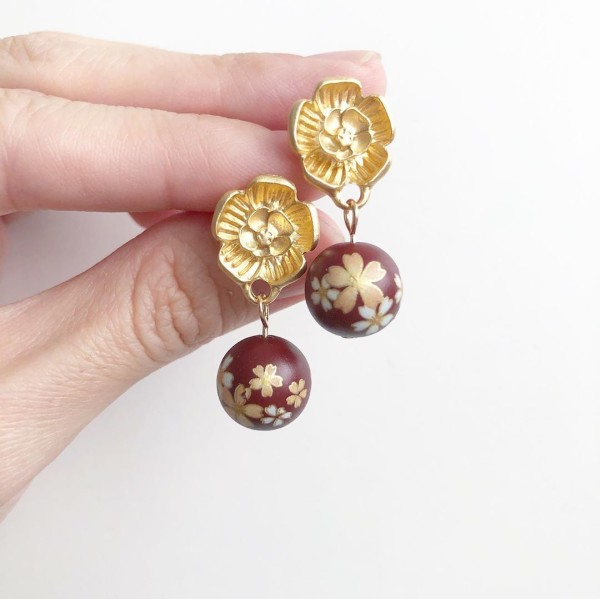 Maroon Sakura Floral Earrings - Diary of a Miniature Enthusiast