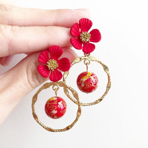 Red and Gold Dragonflies Tensha Floral Earrings - Diary of a Miniature Enthusiast