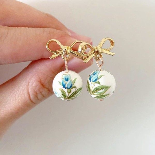 Blue Floral and Gold Bow Earrings - Diary of a Miniature Enthusiast