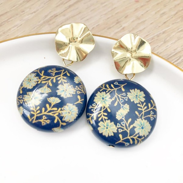 Navy Daffodils Statement Tensha Earrings - Diary of a Miniature Enthusiast