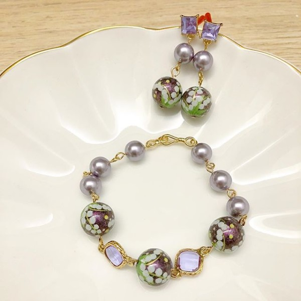 Purple and Green Floral Earrings and Bracelet - Diary of a Miniature Enthusiast