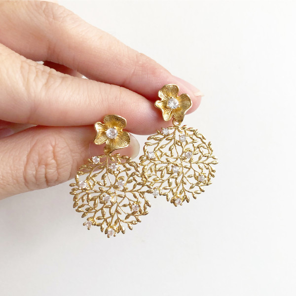 Cubic Zirconia Floral Earrings - Diary of a Miniature Enthusiast